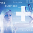 Business concept - girl with screen — Stock Photo