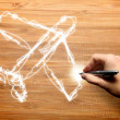 Royalty-Free Stock Photo: Hand drawing holidays and plane