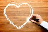 Mão desenhando o amor — Foto Stock