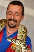Man holding python — Stock Photo