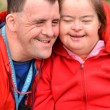 Down syndrome love couple — Stock Photo