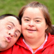 Down syndrome love couple — Stock Photo #10951107