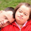 Down syndrome love couple — Stock Photo #10951116