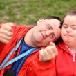 Down syndrome love couple — Stock Photo #10951117
