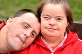 Down syndrome love couple — Stock fotografie