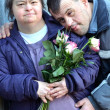 Couple with down syndrome - 图库照片