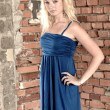 Young blonde woman posing in stylish blue dress — Stock Photo
