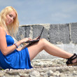 Young pretty woman with laptop on roof — Foto de Stock   #11441986