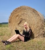 Sexy woman with a laptop by a hay stack on a summer day — Stock Photo