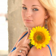 Blonde with sunflower — Foto Stock