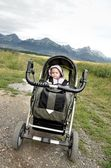 Little baby in carriage — Stock Photo