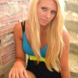 Beautiful Blond Girl Portrait.Blonde Hair. - Foto Stock