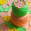 Crocheted flower — Stock Photo