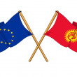 Постер, плакат: European Union and Kyrgyzstan alliance and friendship