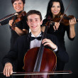 Two violinist and cellist played — Stock Photo