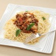 Whole spaghetti plate — Stock Photo