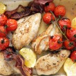 Stock Photo: High angle grilled chicken and tomatoes