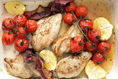 High angle grilled chicken and tomatoes — Stock Photo