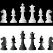 Chess pieces set A complete set of chess pieces. No meshes used. — Stock Vector