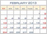 Vector calendar February 2013 — Stock Vector