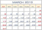 Vector calendar March 2013 — Stock Vector