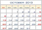 Vector calendar October 2013 — Stock Vector