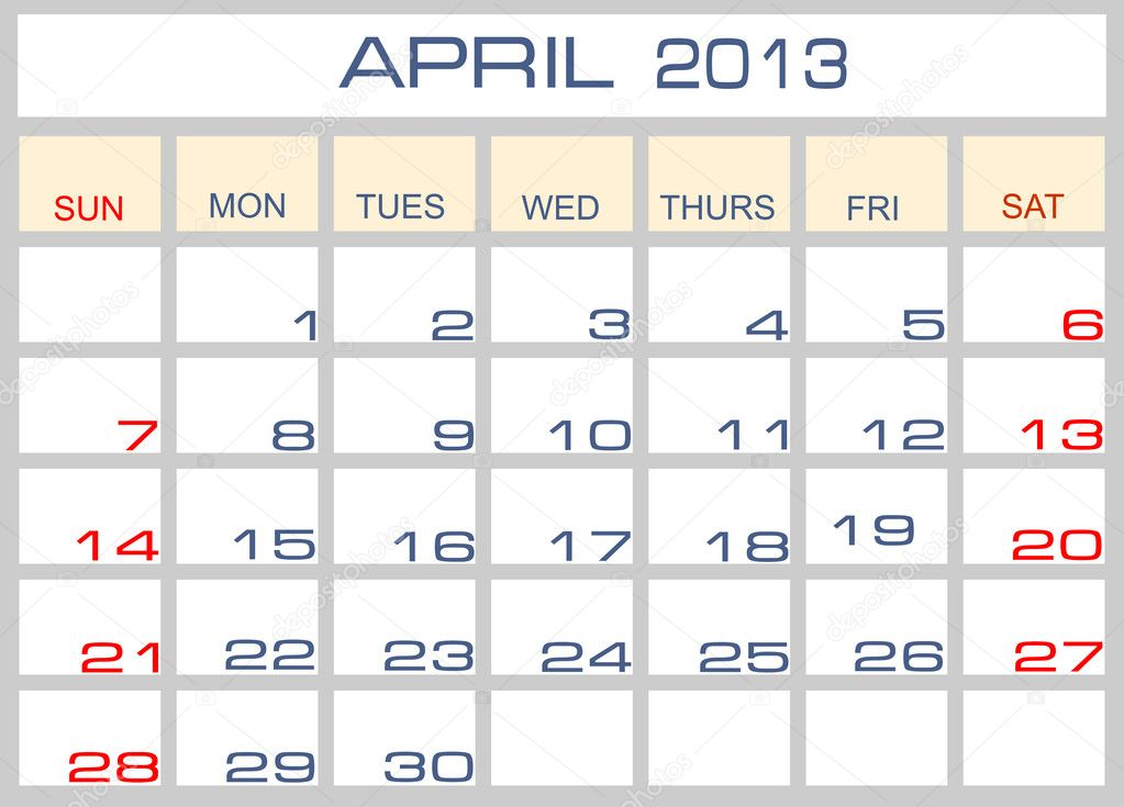 Calendar April 2013 : Vector calendar april — stock mitay
