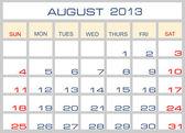 Vector calendar August 2013 — Stock Vector