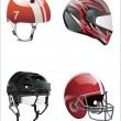 Stock Vector: Set helmets