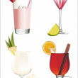 Set of different alcoholic cocktails isolated on white background — Stock Vector