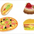 Royalty-Free Stock Vector Image: Colorful icons with fast food meals isolated