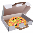 Stock Vector: Open packing box for pizza