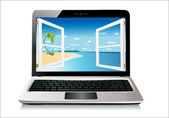 Laptop isolated on white, clipping path included — Stock Vector
