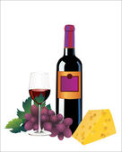 Red wine, cheese and grapes. Isolated on white — Stock Vector
