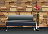 Stylish black leather sofa with decorative vases near by — Stock Vector