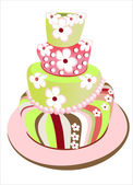Vector picture with birthday cake — Stock Vector