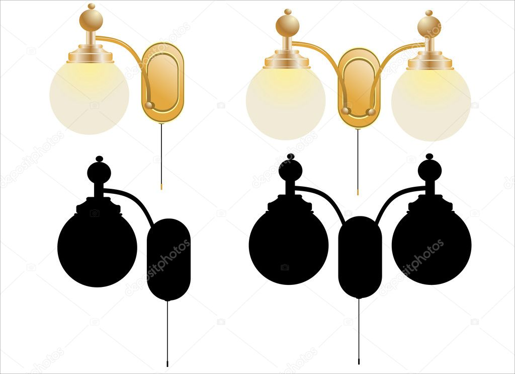 Wall Lamps Vector : Vintage wall lamp isolated on white Stock Vector ? mitay20 #11342090
