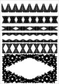 Vector set of silhouettes of iron fences. — Stock Vector