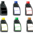Bottles with the basic printing colors red, green and blue — Stock Vector