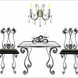Dining Area Traditional Old Antique Furniture Interior Design — Imagen vectorial