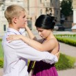 Young couple ballroom dancing — Stock Photo