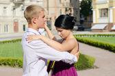 Young couple ballroom dancing — Stock Photo