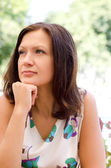 Portrait of a thoughtful woman — Stock Photo