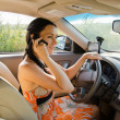 Woman driver talking on her mobile — Stock Photo