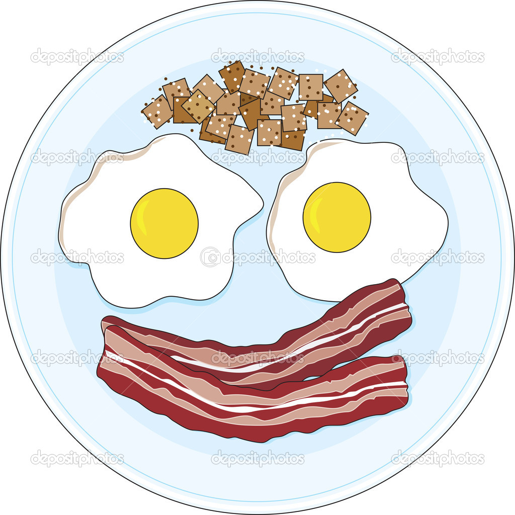 A bacon and eggs breakfast on a plate,  forming of a smiley face. — Stock Vector #11126309
