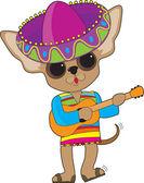 Chihuahua Guitar — Stock Vector