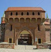 Barbican de cracovia. la fortaleza anteriormente conectados a las murallas de la ciudad. — Foto de Stock