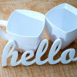 Hello with Plastic Mugs — Stock Photo