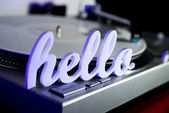 Hello on Record Player — Stock Photo