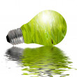 Eco Lamp reflected in water — Stock Photo